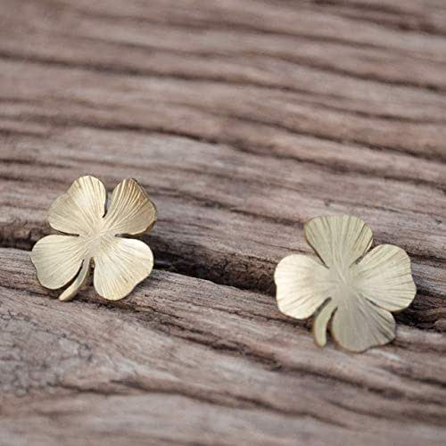 Pendientes mujer trébol cuatro hojas, color dorado, perno de plata.