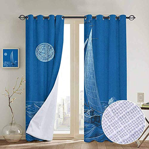 NUOMANAN Window Curtains Sailboat Nautical,Night Sea View Sail Boat in Moonlight Wavy Nautical Ship Illustration, Violet Blue,Tie Up Window Drapes Living Room 54