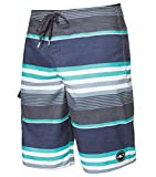 O'Neill Men's Santa Cruz Striped Boardshorts, Size 36, Navy Charcoal Blue