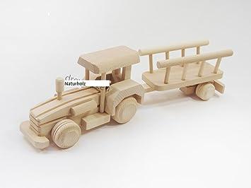 Bauernhof Trecker mit Anhänger Traktor Bauernhof Holztrecker Schlepper Buchenholz L 34 cm