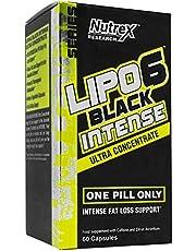 Nutrex Lipo 6 Black Intense Ultra Concentrate European Versie 1 Pack 60 Capsules Vetverbrander Thermogenic Fat Burner Afvallen met cafeïne Cholin en Piperine van zwarte peperextract