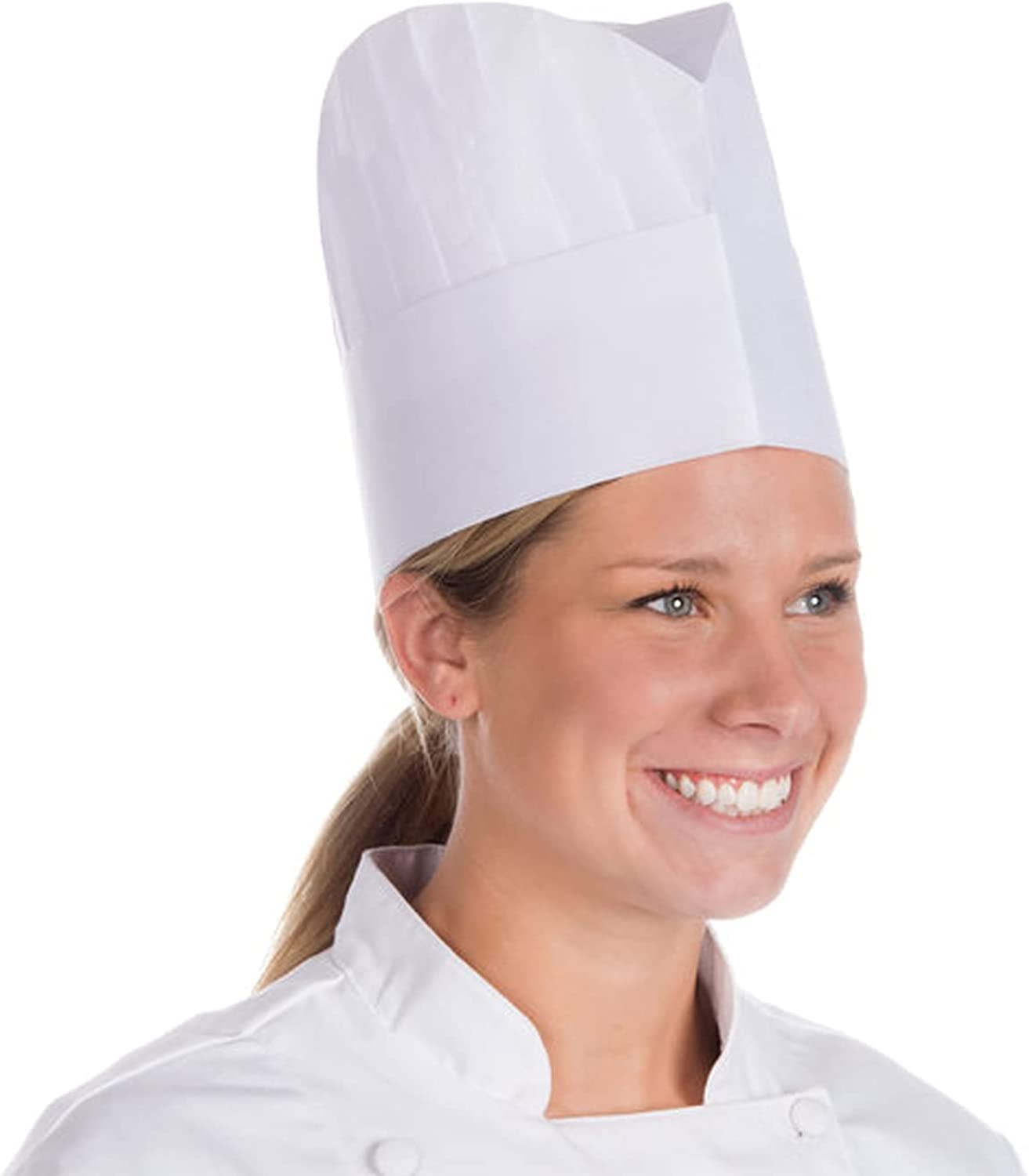 White Chef Hats in Bulk. Viscose Hair Covers with Pleats. Head Caps, Le Toque.