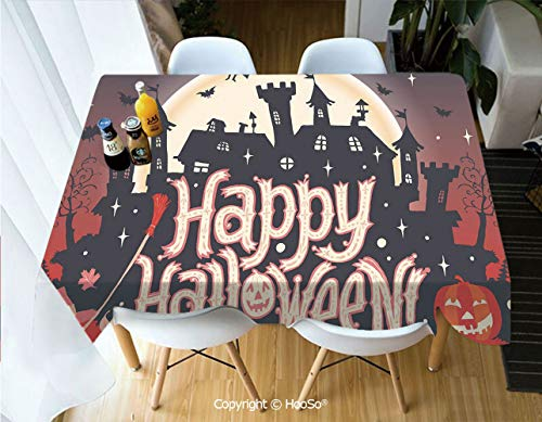 Premium Polyester Table Cover, Machine Washable, Durable Table Cloths for Wedding Reception Restaurant Banquet Party,Halloween,Medieval Gothic Castle with Happy Halloween,60
