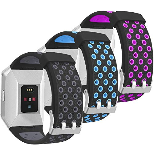 SKYLET for Fitbit Ionic Bands, 3 Pack Soft Breathable Accessories Wristbands for Fitbit Ionic Bracelet with Buckle (No Tracker)[3PC: Black-Gray&Black-Blue&Black-Purple]