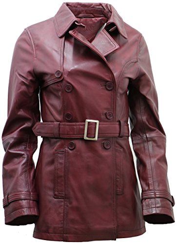 Women's 3/4 Burgundy Ladies Lamb Leather Nappa Trench Coat t S (Ladies 3/4 Length Leather)