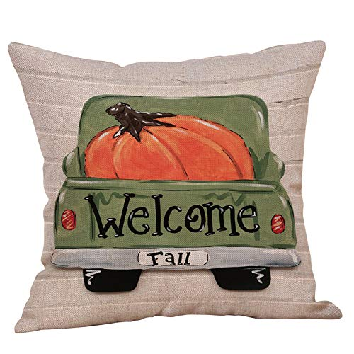 Fall Pumpkin Truck Throw Pillow Cover Autumn Quotes Cotton Linen Cushion Case for Sofa Couch 18