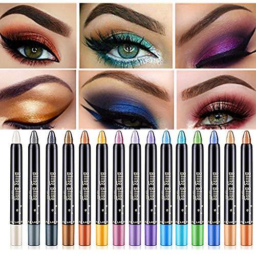 15 Colors Eyeshadow Stick Petansy Waterproof Eye Shadow Pencil Shimmer Glitter Eyeshadow Crayon Long Lasting Eyeshadow…