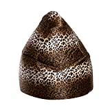 Gouchee Home Inc. Sitting Point Afro Animal-print Velvet Extra Large Bean Bag Leopard