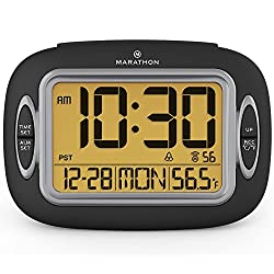 Marathon CL030051BK Atomic Alarm Clock With Auto-Night Light, Temperature & Date - Batteries Included. Latest Edition with Easy Control Front Buttons.