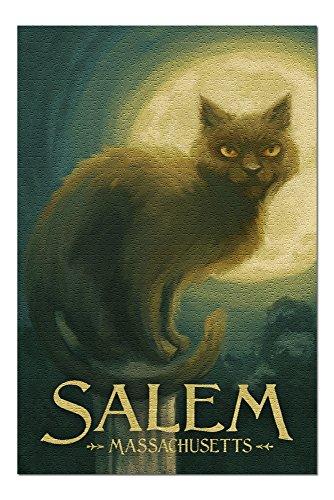 Salem, Massachusetts - Black Cat - Halloween Oil Painting (20x30 Premium 1000 Piece Jigsaw Puzzle, Made in USA!) -
