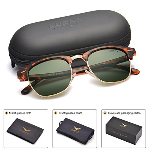 e0c6f7e2f0f LUENX Men Semi Rimless Polarized Sunglasses Women Grey Green Lens Tortoise  Retro Frame 51MM