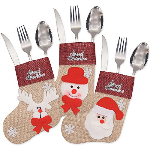 Ivenf 12 Pack 7'' 3D Burlap Mini Christmas Stockings, Santa Snowman Reindeer Gift Card Silverware Holders, Bulk Treats for Neighbors Coworkers Kids Cats Dogs, Small Rustic Red Xmas Tree Decorations Set by Ivenf (Image #3)