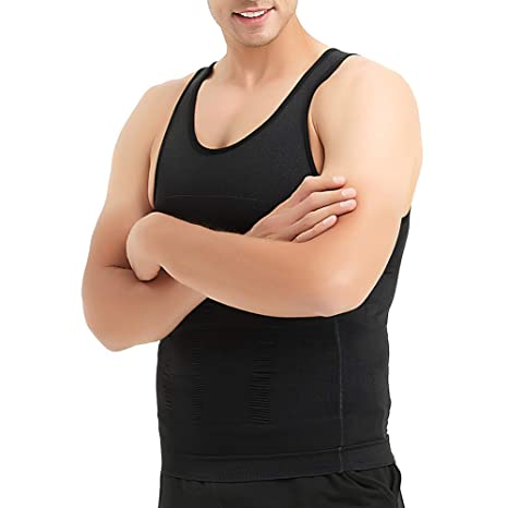 24e35b5e6c2 Men Slimming Body Shaper Compression Shirt Shapewear Sculpting Vest Muscle  Tank Bulk Sale-Black-