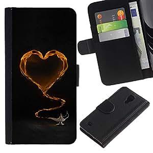 iBinBang / Flip Funda de Cuero Case Cover - Corazón amarillo y té - Samsung Galaxy S4 IV I9500