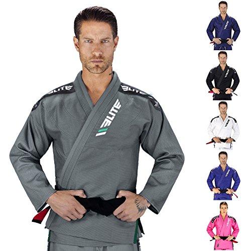 Elite Sports NEW ITEM IBJJF Ultra Light BJJ Brazilian Jiu Jitsu Gi w/Preshrunk Fabric & Free Belt (Gray, A2)
