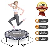 Wamkos 2019 Upgraded Blue Camo Foldable Trampoline with 1 Pair Resistance Bands for Sports & Fitness...