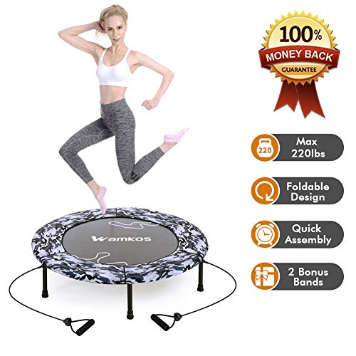 Wamkos 2019 Upgraded Blue Camo Foldable Trampoline with 1 Pair Resistance Bands for Sports & Fitness Indoor or Outdoor ()