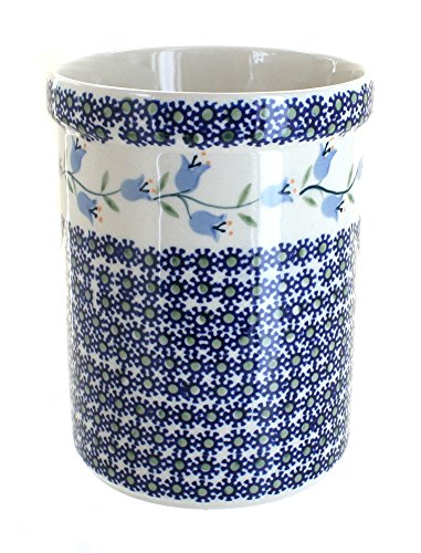 Blue Rose Polish Pottery Tulip Utensil Jar