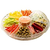 """Perlli - 8 section Ice Chilled Appetizer serving Platter Dish Tray + Dip Cup and Lids, 16.5"""" diameter x 5"""" height, Crystal clear acrylic"""