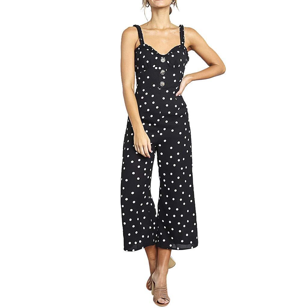 Sttech1 Women Causal Elegant Sleeveless Jumpsuit Polka Dot Print Button Bodysuit Playsuit Black