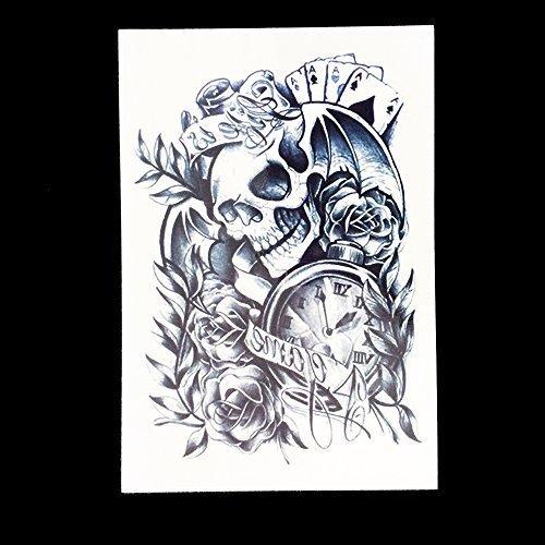 MÄNNER TATTOO SCHWARZ Arm Oberarm Tattoo Aufkleber Rosen Totenkopf HB049