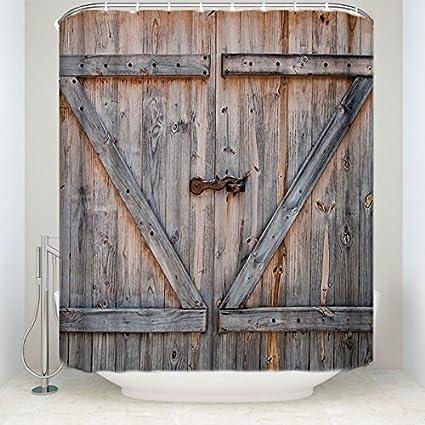Cloud Dream Rustic Country Barn Wood Door Bath Set Shower Curtain Bathroom Decor Waterproof Fabric