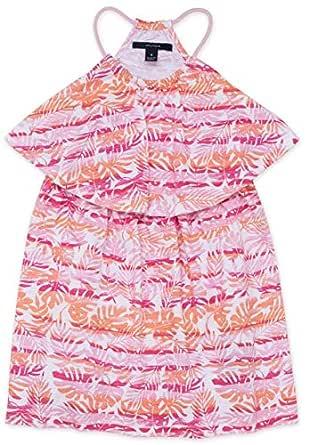 Nautica Toddler Girls' Patterned Sleeveless Dress, Foliage Rose Pink, 2T