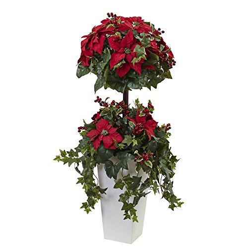 Nearly Natural Poinsettia Berry Topiary with Decorative Planter, 4' (Berry Red Topiary)