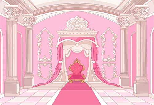 AOFOTO 10x7ft Baby Shower Backdrop Royal Palace Princess Throne Pink Wall Curtain Carpet Photography Background for Little Girl Birthday Party Celebration Welcoming Newborn Children Photo Booth Prop]()