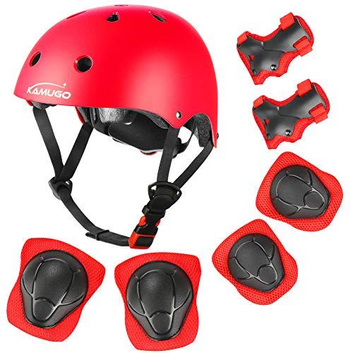 KAMUGO Kids Adjustable Helmet, with Sports Protective Gear Set Knee Elbow Wrist Pads for Toddler Age 3-8 Boys Girls, Bike Skateboard Hoverboard Scooter Rollerblading Helmet Set …