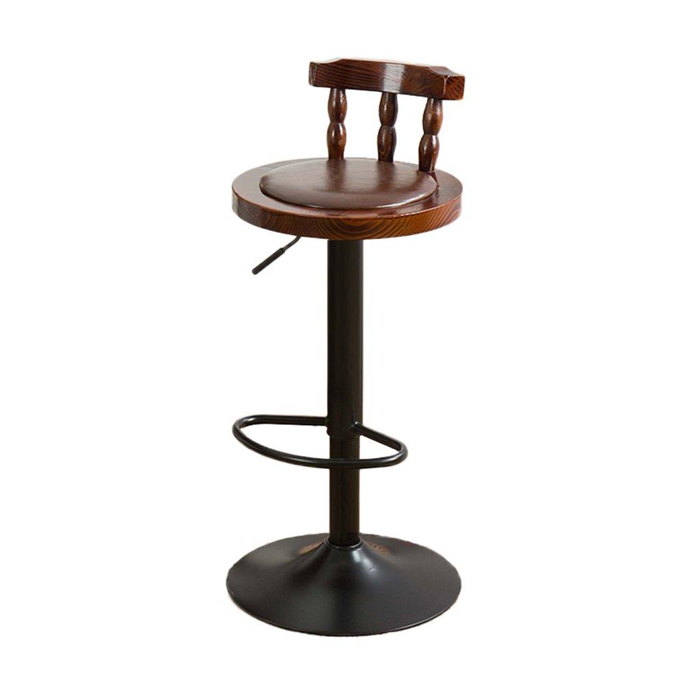 IAIZI バーチェアチェアリフト木製背もたれ回転アメリカレトロ高スツール木製チェアレストランハイチェアコーヒーバーチェア (色 : B) B07D65Z6K9 B B