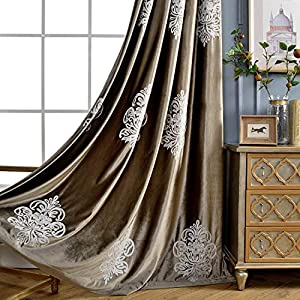 VOGOL 2 Panels Eurapean Floral Embroidered Curtains, Blackout Velvet Drapes Grommet Drapery for Theater Bedroom Living Room, 52 by 63 Inch, Chocolate Brown