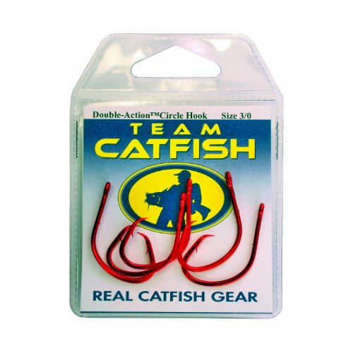 Team Catfish TC84Z3/0 Double Action Dead Finish Hook, Red
