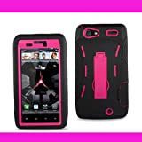 New Black/pink Silicon Case+Protector Cover For Motorola Droid RAZR XT912