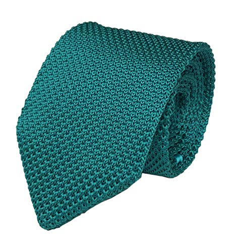 """Secdtie Mens Stripe Vintage Smart Casual 2"""" Skinny Knit Tie Turquoise Necktie for Gift 023"""