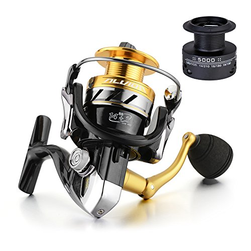 Gosccess Fishing Spinning Reel for Saltwater and Freshwater,14+1BB Light Weight Ultra Smooth Powerful,Free Spare Graphite Spool(2000)