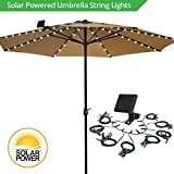 Umbrella Solar String Lights - Cool White - 72 total LEDs, 8 strings, 9 LEDs per string