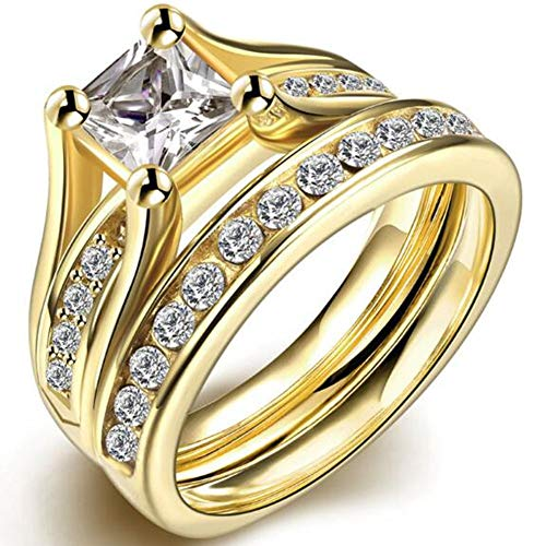 iSilver Stainless Steel Princess Cut Wedding Engagement Anniversary Statement Bridal Halo Ring Set (Gold, 12)