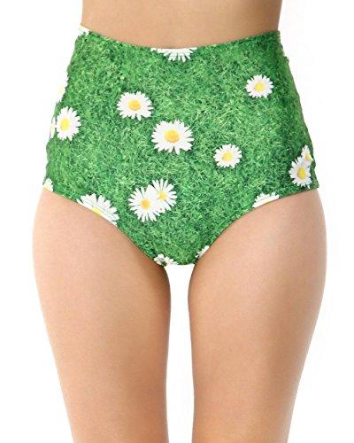 [iHeartRaves Daisy Flower High Waisted Rave Booty Shorts (Medium/Large)] (J Valentine Unicorn Costume)