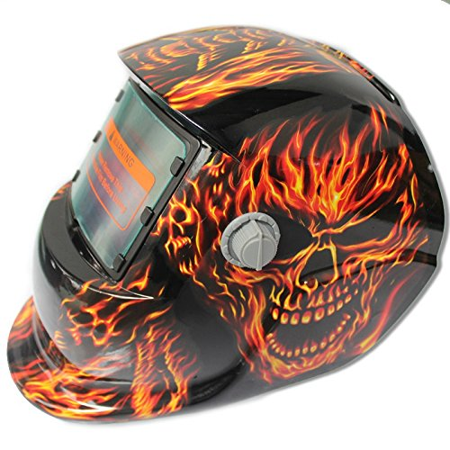 Nrpfell 2018 New Pro Solar Welder Mask Auto-Darkening Welding Helmet Fiery red Skull