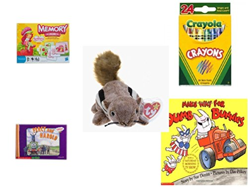 Children's Gift Bundle - Ages 3-5 [5 Piece] - Strawberry Shortcake Edition Memory Game - Crayola Crayons 24 Count Toy - Ty Beanie Baby - Chipper the Chipmunk - Thomas & Friends: Percy Runs Away / Pe (Runaway Beanie)