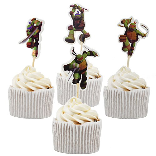 Betop House 24pcs Teenage Mutant Ninja Turtles Themed Party Decorating Cake and Cupcake Toppers -