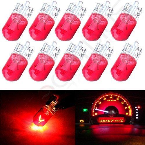 cciyu 10 pcs T10 W5W Red Halogen Light Bulb 168 194 Instrument Cluster Gauge Dash Lamp 12V