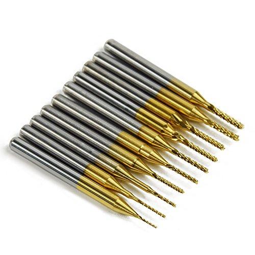 10PC Titanium Coat Carbide 0.6mm-1.5mm End Mill Engraving Bits CNC Rotary Burrs Set(ST0.6-1.5mm-10Ti) ()