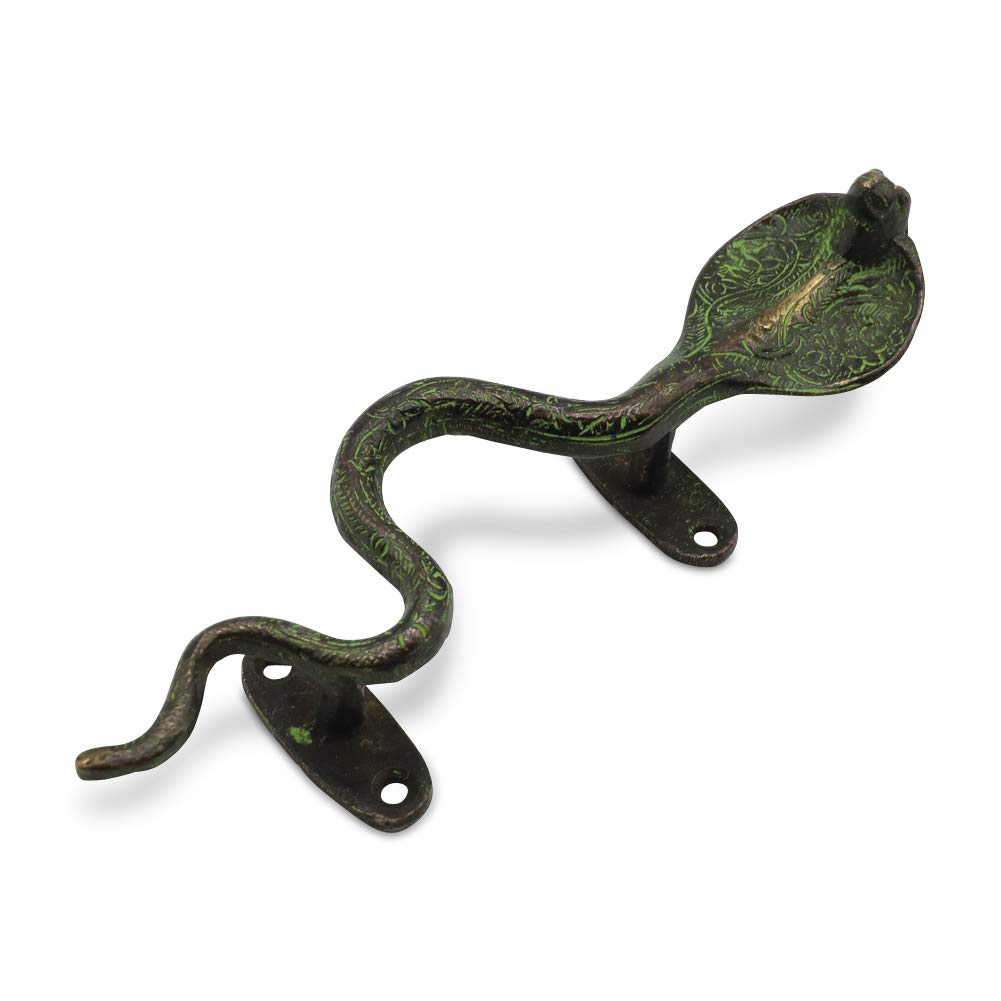 Brass Cobra Snake 8.5 Inch Door Pull Cabinet Handle Antique Artistic Hardware Home Decor by Culture Cross