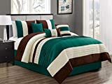 HGS 7-Pc Yuma Diamond Stripe Southwest Embroidery Pleated Comforter Set Teal Green Brown Beige Queen