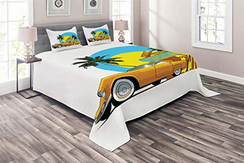 Ambesonne Retro Coverlet Set Queen Size, Vintage Car in Magic City Miami with Exotic Coconut Trees Sunny Day Beach, 3 Piece Decorative Quilted Bedspread with 2 Pillow Shams, Yellow Blue Orange