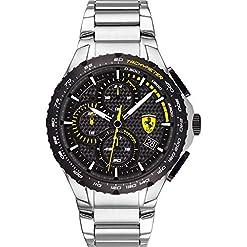 Scuderia Ferrari Mens Chronographe Quartz Montre avec Bracelet en Acier Inoxydable 830729 18