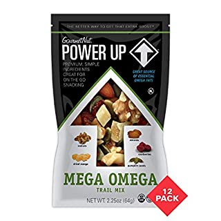 Power Up Trail Mix, Mega Omega Trail Mix, Keto-Friendly, Paleo-Friendly, Non-GMO, Vegan, Gluten Free, No Artificial Ingredients, 2.25 Ounce (Pack of 12)