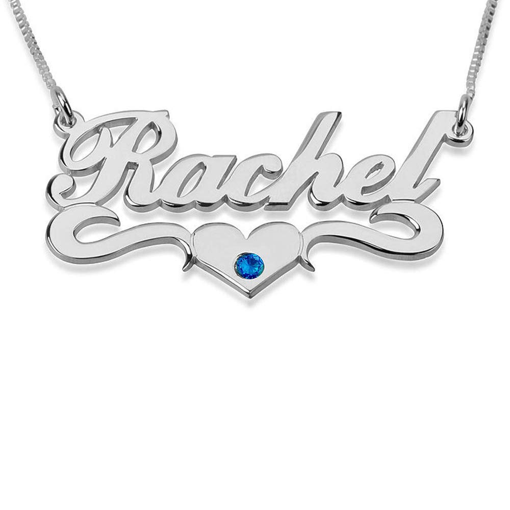18K Custom Necklace Pendants with Any Name BINKILA 925 Sterling Silver Personalized Name Necklace with Heart